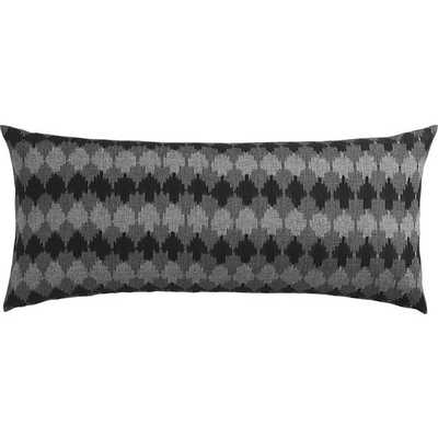"ikat black and grey 36""x16"" pillow with down-alternative insert - CB2"