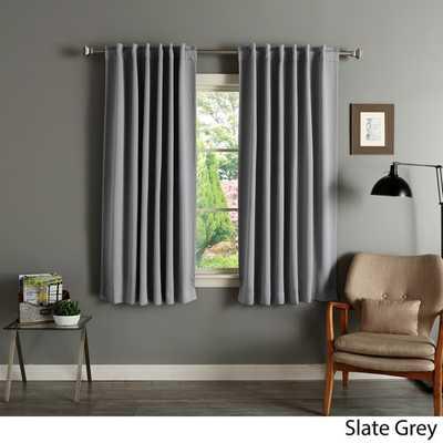 Aurora Blackout Curtain Panel Pair - Slate Grey - Overstock