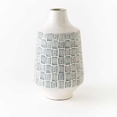 Basketweave Ceramic Large Vase - Large, Blue - West Elm