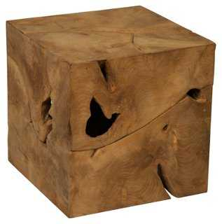 Root Cube Side Table, Brown - One Kings Lane