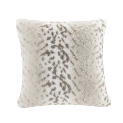 Madison Park Signature Geneva Luxury Faux Fur 20-inch Square Pillow with Feather Down Fill - Overstock