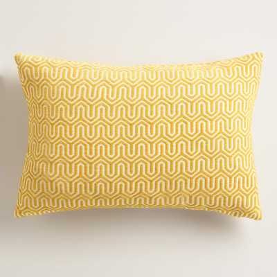 "Gold Geo Chenille Lumbar Pillow - 20""W x 14""H - World Market/Cost Plus"