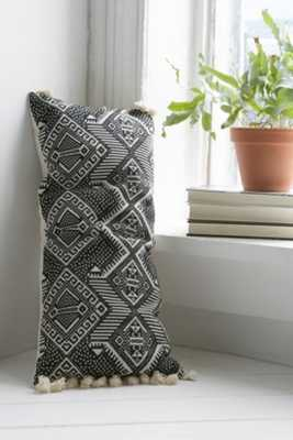 "Magical Thinking Black + White Rectangle Pillow- 12"" Lx 28""W- Poly fill insert - Urban Outfitters"
