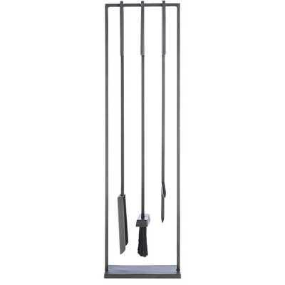 3-piece bend gunmetal standing fireplace tool set - CB2