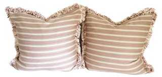 Fringed Mulberry Striped Pillows, S/2 - One Kings Lane