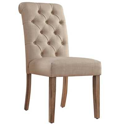Benchwright Button Tufts Upholstered Rolled Back Parsons Chairs (Set of 2) - Overstock