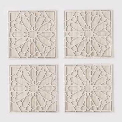 Whitewashed Wood Wall Art - Set of 4 - West Elm