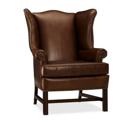 Thatcher Leather Wingback Chair - Cognac - Pottery Barn