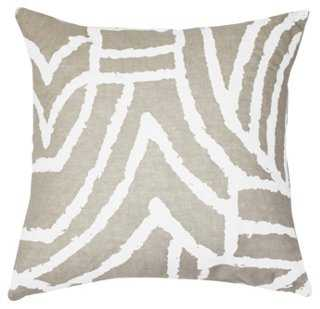 Earth Files 22x22 Pillow, White - with feather-and-down insert - One Kings Lane