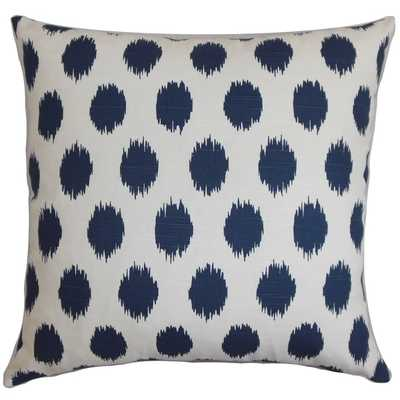 """18"""" Faustine Dots Navy Blue Feather Filled Throw Pillow - Overstock"""
