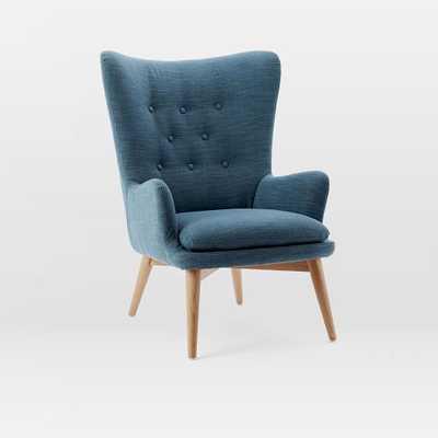 Niels Wing Chair - Regal Blue (Linen Weave) - West Elm