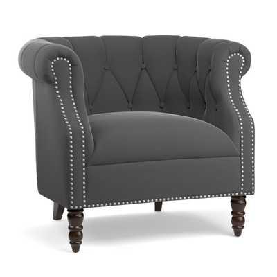 Portfolio Chesterfield Grey Velvet Arm Chair - Overstock