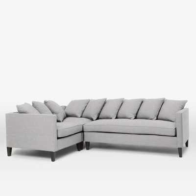 Dunham Down-Filled 3-Piece Sectional - Toss Back-Right Facing -Chenille Tweed, Frost Gray - West Elm