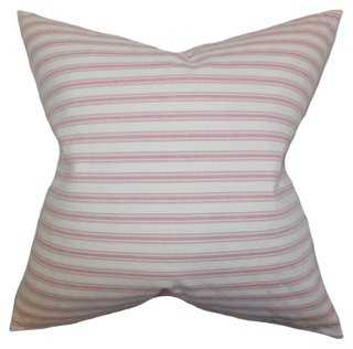 Loriana 18x18 Cotton Pillow, Rose, feather/down insert - One Kings Lane