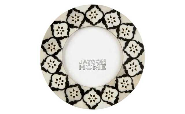 "Bone Black Round Frame-6""x6"" - Domino"