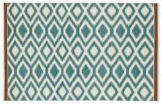 Livvy Flat-Weave Rug, Turquoise - One Kings Lane