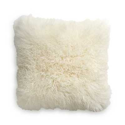 "Pelliccia Ivory 23"" Mongolian Lamb Fur Pillow with Down-Alternative Insert - Crate and Barrel"