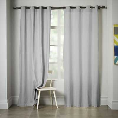 """Linen Cotton Grommet Curtain - Platinum - 96""""L x 48""""W - West Elm"""