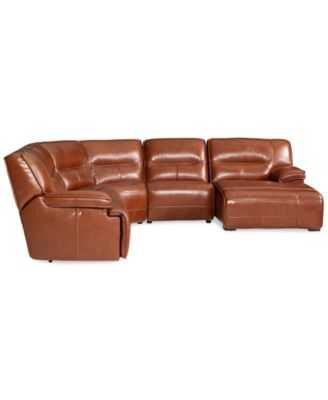 Beckett Leather 5-Piece Sectional Sofa with 2 Power - Right arm facing - Macys