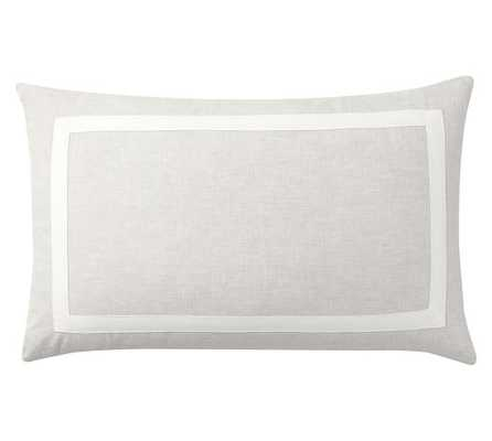 """BELGIAN FLAX LINEN FRAME LUMBAR PILLOW COVER-16"""" x 26"""" -Flax/Ivory-Insert sold separately - Pottery Barn"""