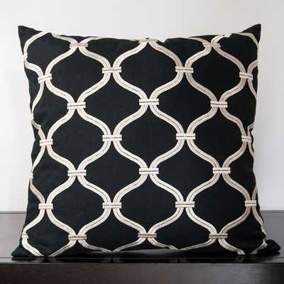 Olivia Caviar Lattice Decorative 18-inch Down Pillow - Overstock
