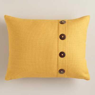 Mustard Yellow Basketweave Lumbar Pillow with Button - World Market/Cost Plus