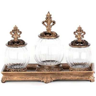 Gold Filigree Glass Jar, Set of 3 - kirklands.com