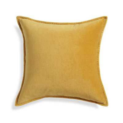 """Brenner Yellow 20"""" Velvet Pillow with Down-Alternative Insert - Crate and Barrel"""