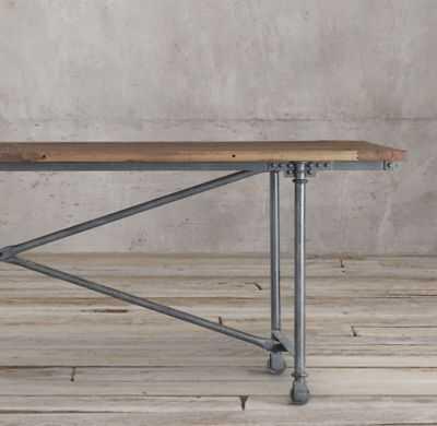"""FLATIRON RECTANGULAR DINING TABLE - 60""""L, Natural Elm & Metal - RH"""
