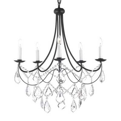 Versailles 5-light Wrought Iron and Crystal Chandelier - Overstock