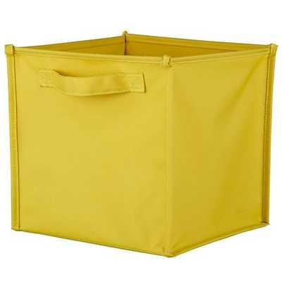 Yellow Canvas Cube Bin - Land of Nod