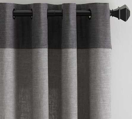 "Emery Border Linen Drape - 84"" - Pottery Barn"
