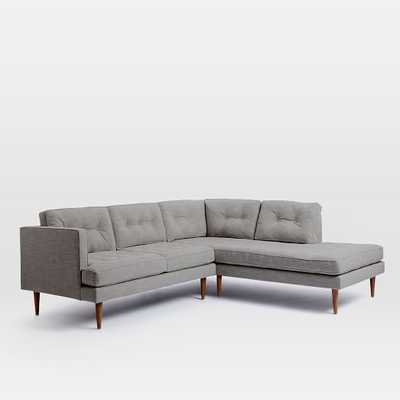 Peggy Mid-Century Right Terminal Chaise 2-Piece Sectional - Feather Gray - West Elm