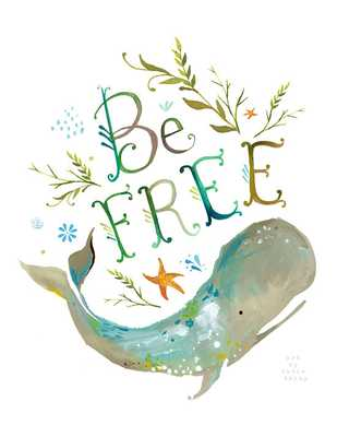 Be Free art print | Ocean wall art | Whale Painting | Watercolor Lettering - Etsy