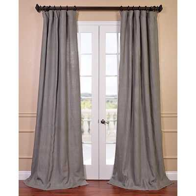 EFF Grigio Grey French Linen Lined Curtain Panel - Overstock