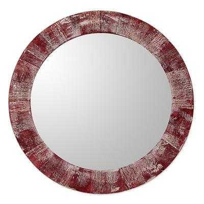 Rustic Wine Round Wood Wall Mirror - novica.com