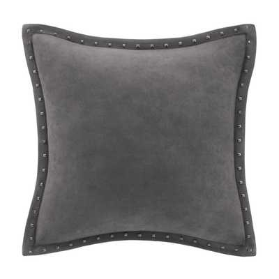 Madison Park Stud Trim Suede Feather Down Filled 20-inch Throw Pillow - Overstock