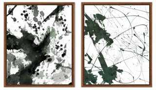 Emerald Abstract Ink Blot (Set of 2) - One Kings Lane