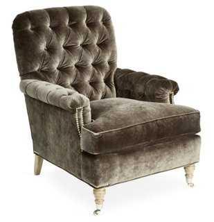 Blazer Tufted Chair, Gray Velvet - One Kings Lane