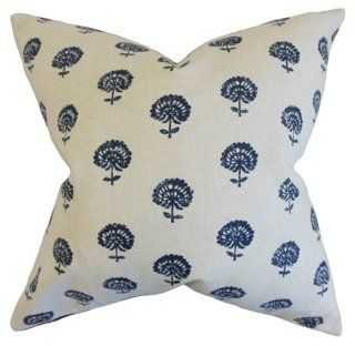 Flora 18x18 Pillow, Indigo - One Kings Lane