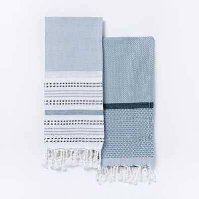 Hammam Hand Towels, Set of 2, Shimmer Blue - West Elm