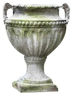 """18"""" Fluted and Beaded Urn, White Moss - One Kings Lane"""