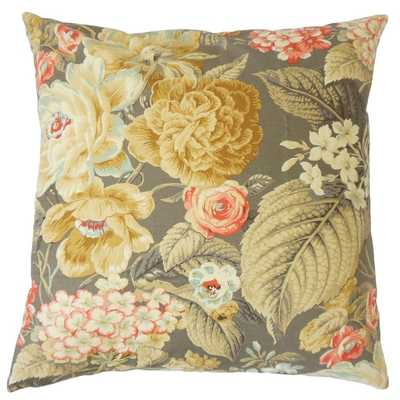 """Fawzia Floral Pillow - 18"""" x 18"""" - Multi - Feather insert - Overstock"""