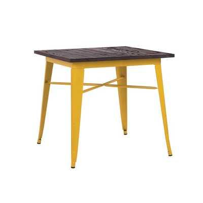 "Amalfi Glossy Yellow + Elm Wood Top Steel Dining Table 30"" - Overstock"