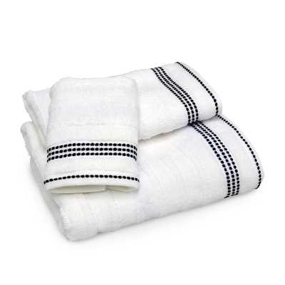 DKNY Empire Stripe Towels - Hand, Black/White - Donna Karan Home