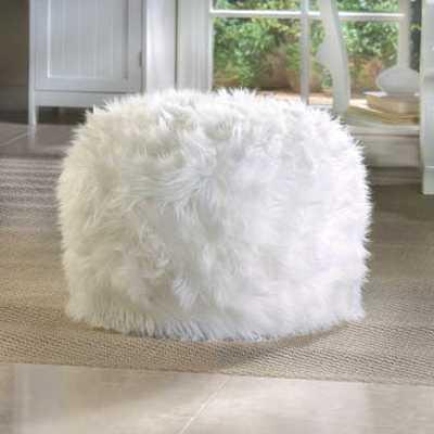 Fuzzy White Ottoman Pouf - VMA Sales