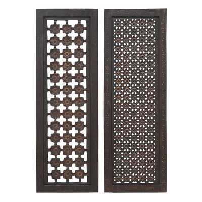 Elegant Two Assorted Wood Wall Panels Sculpture - Overstock