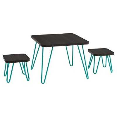 Retro Kids Table and Stools Set - Espresso/Teal - Target