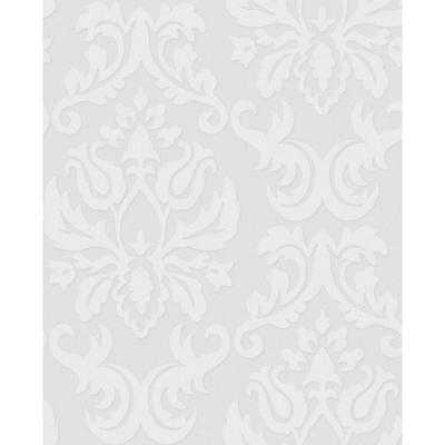 56 sq. ft. Large Damask Paintable White Wallpaper-Roll - Home Depot