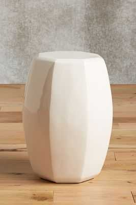Lacquered Bead Side Table- Cream - Anthropologie